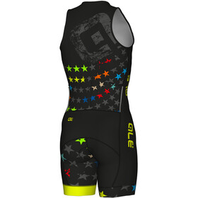 Alé Cycling Long Triathlon Stelle Skinsuit Herrer, black-fluo yellow